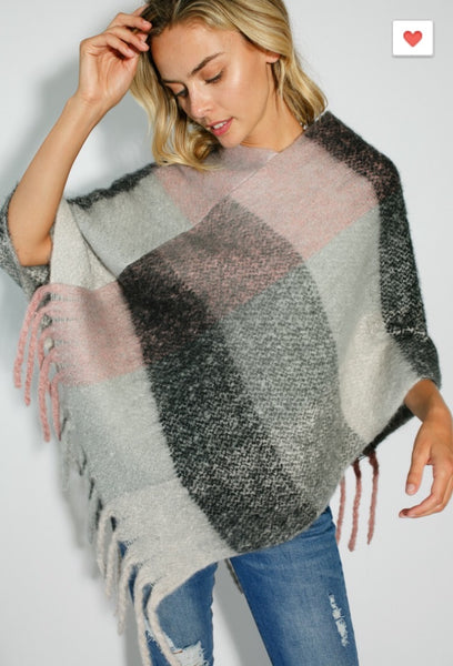 Pastel Fringe Poncho - The Green Shelf Boutique