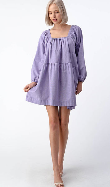 Square Neck Babydoll Dress - The Green Shelf Boutique