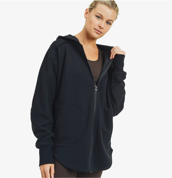 Longline Zip Hoodie - The Green Shelf Boutique