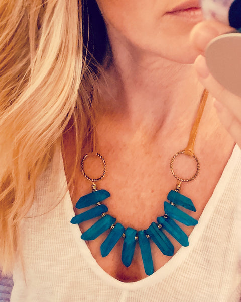 Suede and Sea Stone Necklace - The Green Shelf Boutique