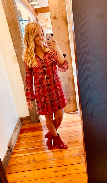 Plaid Shift Dress - The Green Shelf Boutique