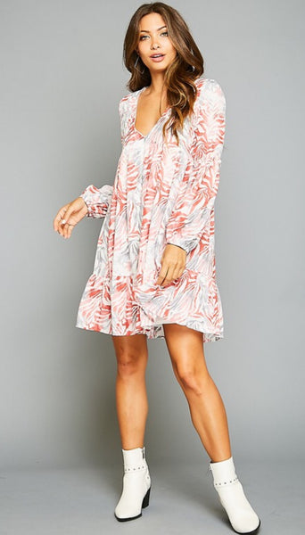 Flower Printed Flowy Dress - The Green Shelf Boutique