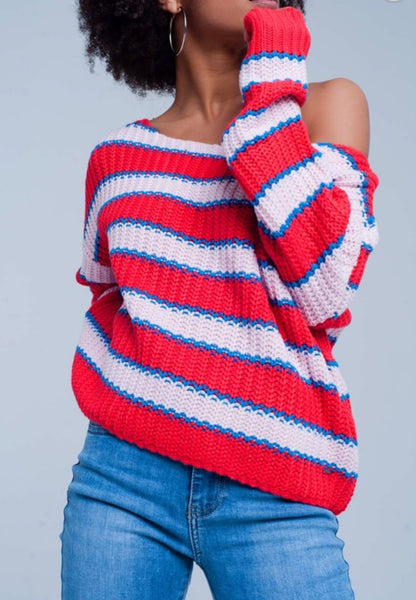 Striped Boatneck Sweater - The Green Shelf Boutique