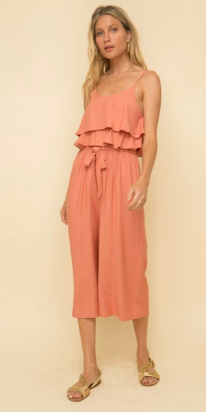 Textured Tiered Ruffle Jumpsuit - The Green Shelf Boutique