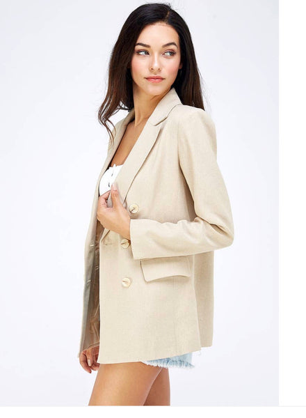 Twill Double Breasted Blazer - The Green Shelf Boutique