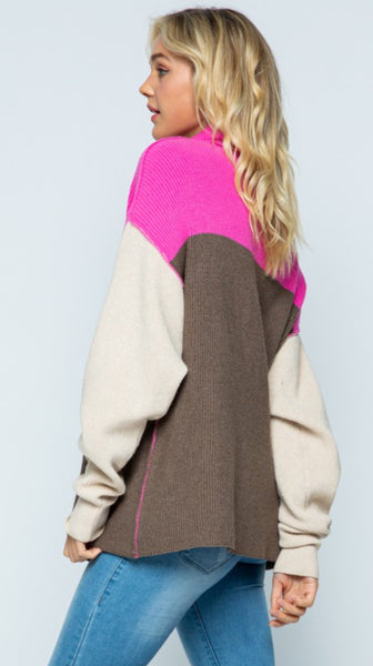 Colorblock Cowl Neck Sweater - The Green Shelf Boutique