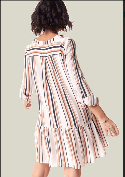 Desert Pink Stripe Dress - The Green Shelf Boutique