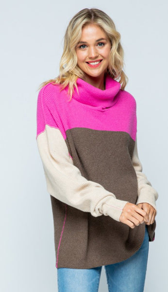 Colorblock Cowl Neck Sweater