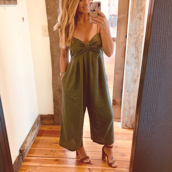 Cropped Jumpsuit - The Green Shelf Boutique