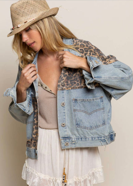 Denim/ Leopard Mix Media Jacket