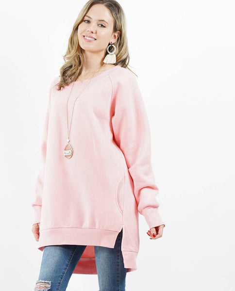Fleece Pullover with Side Pockets - The Green Shelf Boutique