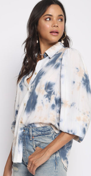 Puff Sleeve Tie Dye Top
