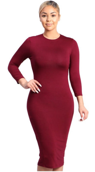 Midi Bodycon Dress - The Green Shelf Boutique