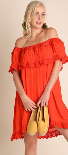 Off the Shoulder A Line Dress - The Green Shelf Boutique