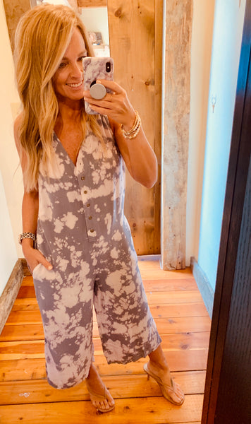 Tie Dye Button Up Jumpsuit
