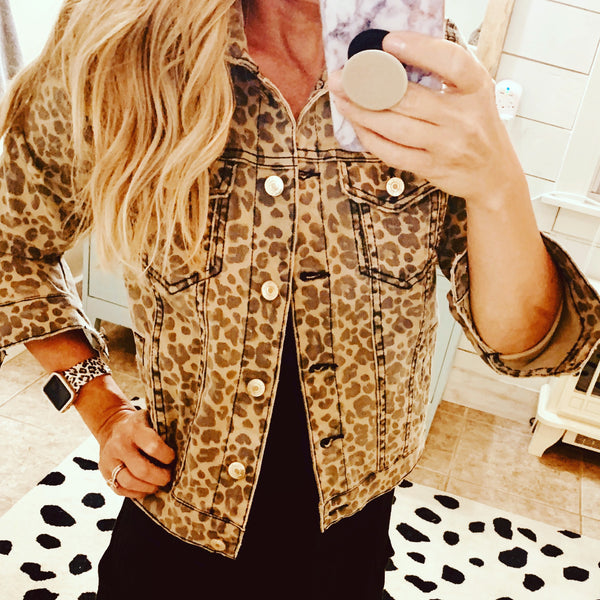 Fitted Leopard Jacket - The Green Shelf Boutique