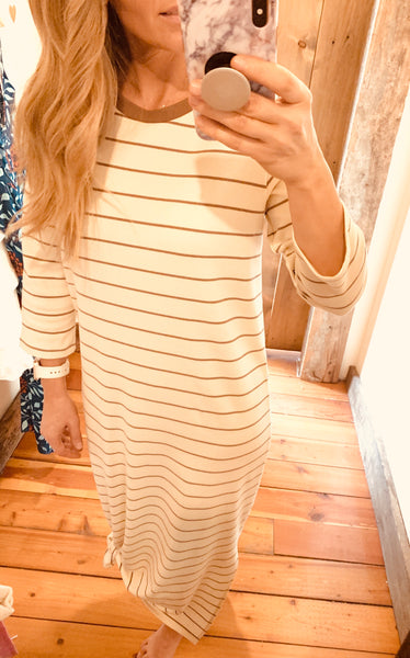 Striped  Maxi Tee Dress - The Green Shelf Boutique