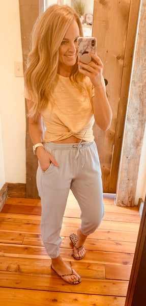 Chambray Denim Jogger - The Green Shelf Boutique
