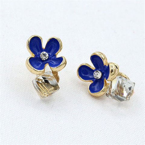 Beautiful Crystal Flower Stud Earrings for Women - Allrate Shopping