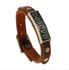 "Leather ""Believe"" Bracelet - Allrate Shopping"
