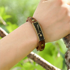 Retro Leather Rose Wristband Bracelet