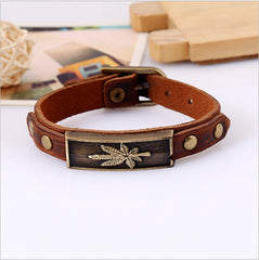 Punk Style Leather Leaf Bracelet