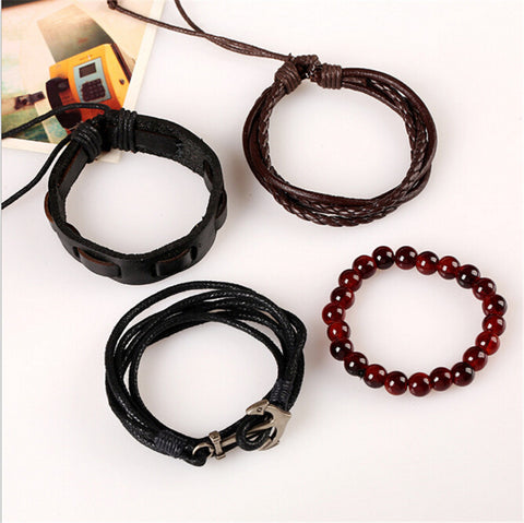 Multi-layer Leather Anchor Bracelet