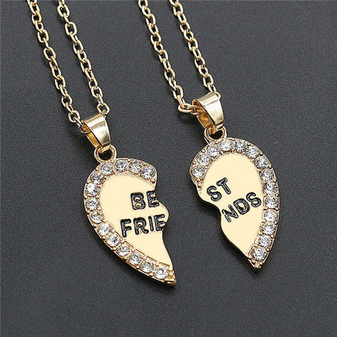 Friend-Friendship Heart Necklace 2pc
