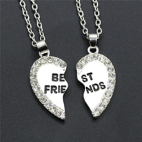 Image of Friend-Friendship Heart Necklace 2pc - Allrate Shopping