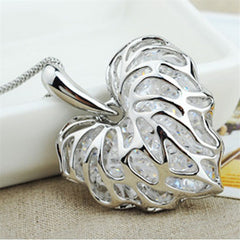 Sparkling Heart with Love Leaves Sweater Chain Necklace