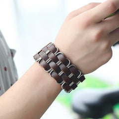 Wide Rivet Leather Bracelet for Men
