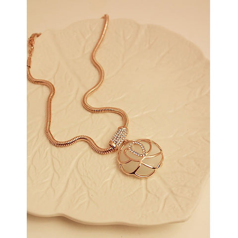 Image of Moonstone Rose Short Sweater Chain Necklace For Women