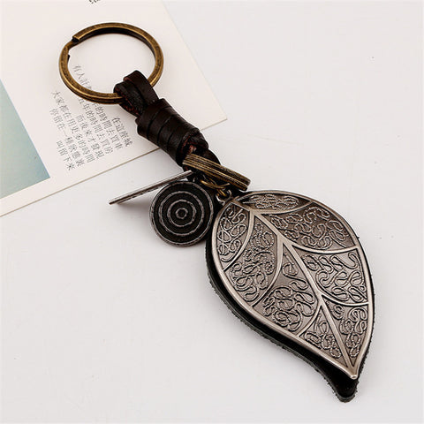Genuine Leather Big Leaves Design Keychain - Allrate Shopping