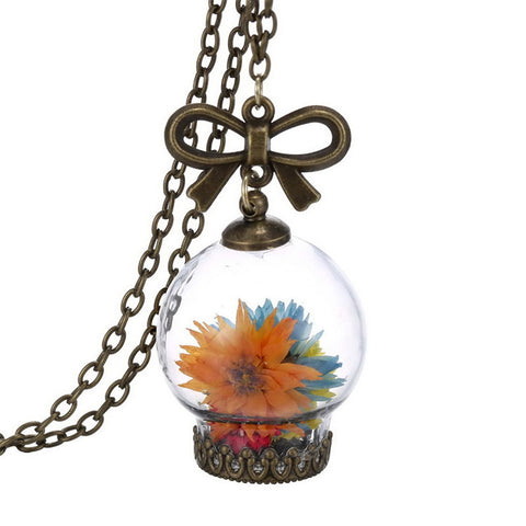 Glass Necklace With Dried Wild Flowers - Allrate Shopping
