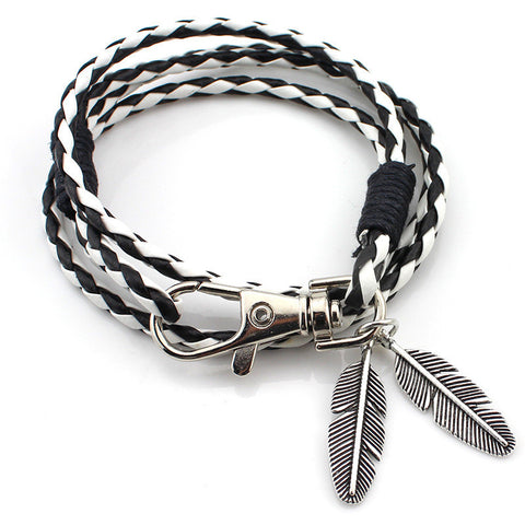 Leather Unisex Multi-layer Woven Bracelet - Allrate Shopping