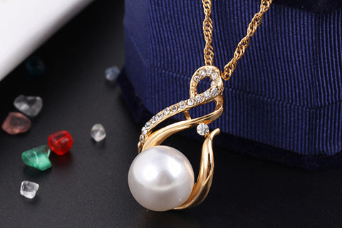 Ladies Pearl White Pendant Necklace and Earring Set - Allrate Shopping