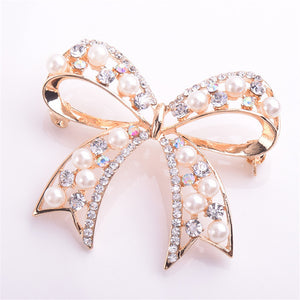High Quality Bowknot Imitation Pearl Brooch For Women