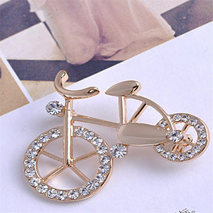 Luxury Charms Gold-plated Bicycle Lovers Brooch
