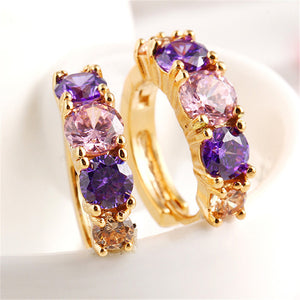 Gold-Plated Purple Crystal Earrings