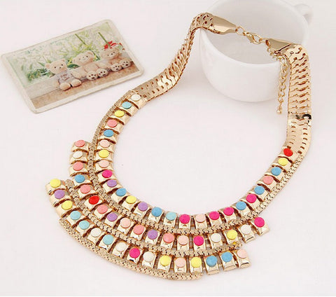 Luxurious and Colorful Short Style Women's Necklace - Allrate Shopping