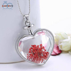 Dry Flower Heart Bottle Pendant Necklace