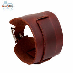 Cool Unisex Genuine Leather Wide Belt Bracelet