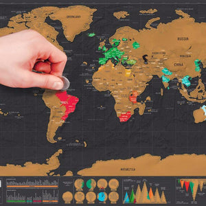 "Luxury Edition Black ""Scratch-Off"" World Map - Great Gift for World Travelers"