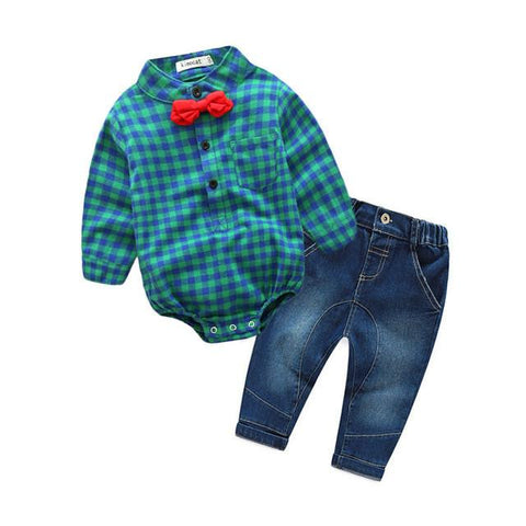 Baby Boys Plaid Shirt With Jeans and Bow Tie Outfit