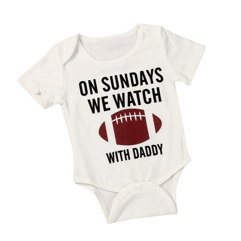 "Baby's ""Watch Football With Daddy"" Cotton Romper"