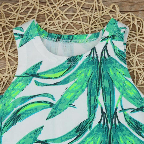 Sleeveless Bamboo Leaf Print Baby T-Shirt