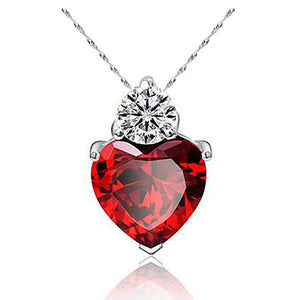 Women's Red Ruby Heart Necklace