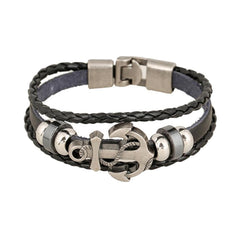 Men's Anchor Design Alloy Leather Bracelet