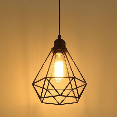 Image of Vintage Diamond Shape Cage Pendant E27 Light Socket (bulb not included)