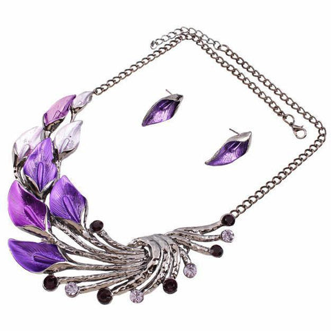Elegant Women's Purple Enamel Necklace with Stud Earrings Set
